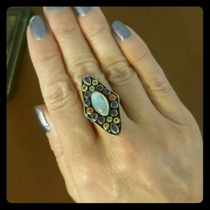 Nicky Butler Moonstone and Multigem sterling ring